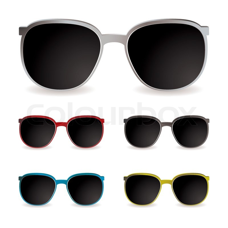 Collection of sun glasses with different frames and dark lenses ...