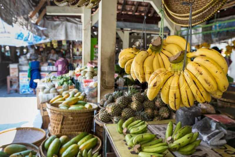 Open air fruit market in the village, stock photo