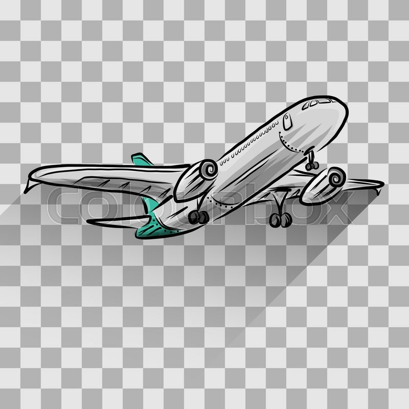 Airplane Isolated On Transparent Vector Illustration For Your Design Eps10