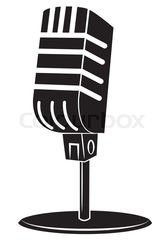 black silhouette old microphone
