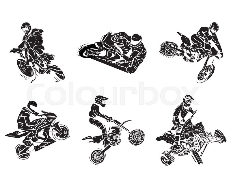 motorbike tattoo collection stock vector colourbox. Black Bedroom Furniture Sets. Home Design Ideas