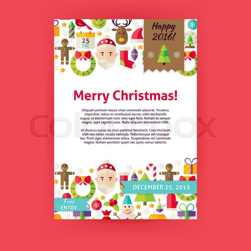 Merry christmas invitation template flyer flat design vector merry christmas invitation template flyer flat design vector illustration of brand identity for happy new year promotion winter holiday colorful pattern stopboris Choice Image