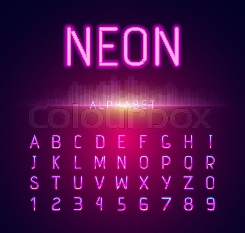 neon alphabet font style flat design neon letters neon sign neon font light alphabet neon lights art text typeset type abc typography electricity
