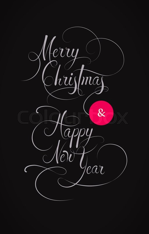 Merry Christmas And Happy New Year Text Vintage Style Xmas Banner Black White Greeting Card Design