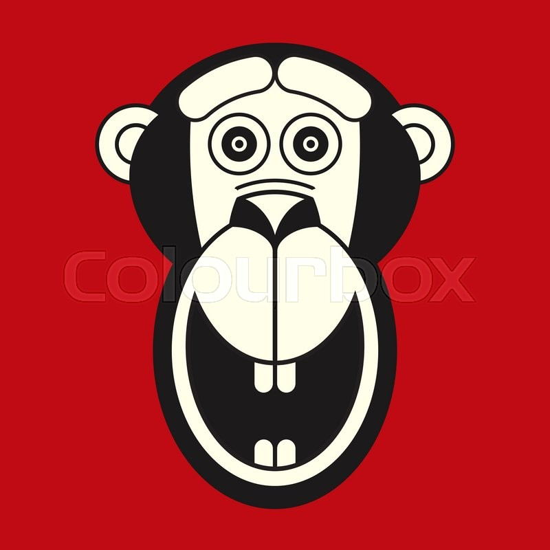 vector red white black monkey face icon flat style logo template