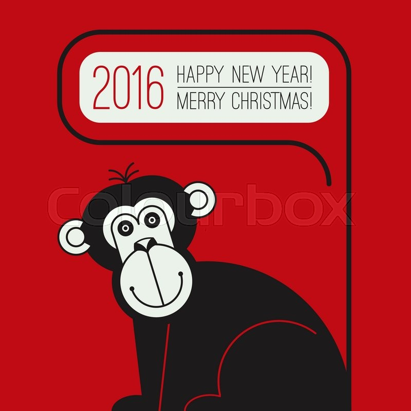Happy new year greeting card with monkey for 2016 year for Wildlife christmas cards 2016
