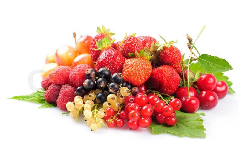 Stock image of 'Different fruits and berries heap isolated on white background'