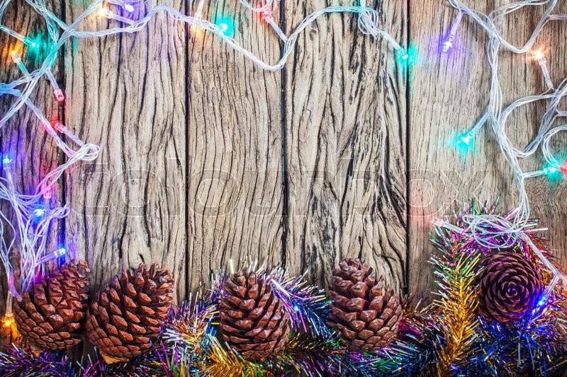 Christmas border with decoration, stock photo
