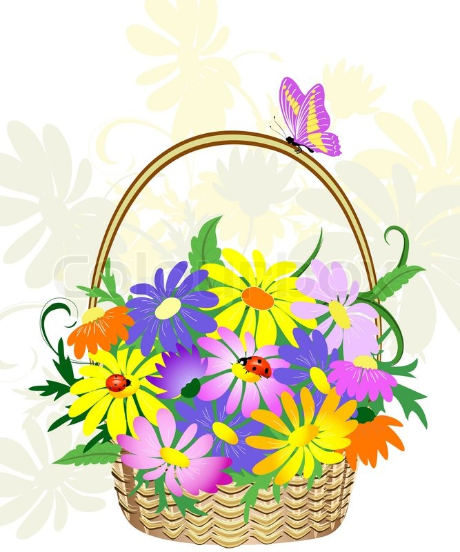 Flower Baskets Vector : Flowers in the basket stock vector colourbox