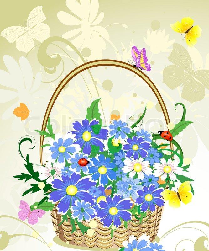 Flower Baskets Vector : Flower basket vector imgkid the image kid has it