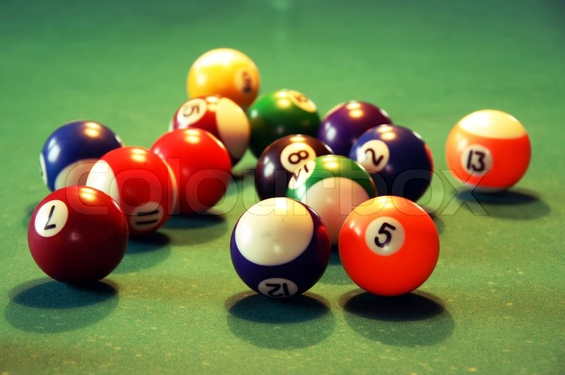Pool Table Balls Scattered Billiards green table ...