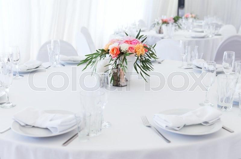 Served white wedding table layout, stock photo
