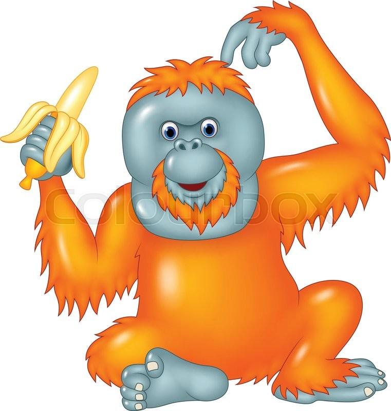 Orangutan Cartoon Vector illustra...