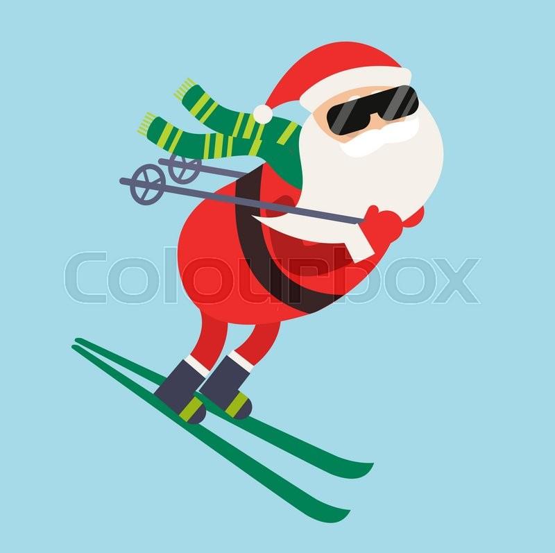 cartoon santa winter sport illustration. santa claus ski run