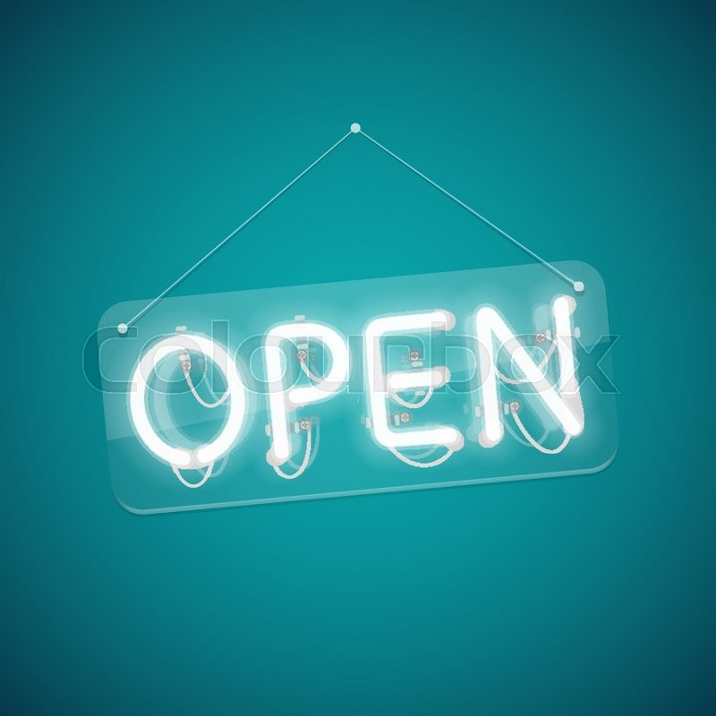 White Glowing Neon Open Sign Used Pattern Brushes