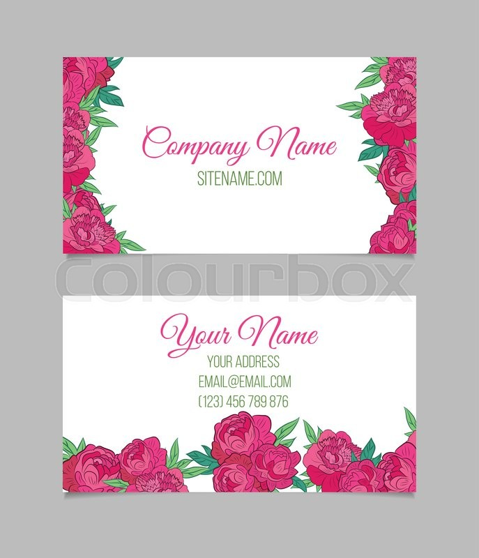 Double-sided floral business card template with pink peonies on ...