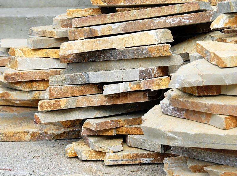 Natural Building Materials : Building materials natural flagstones on stack outdoor