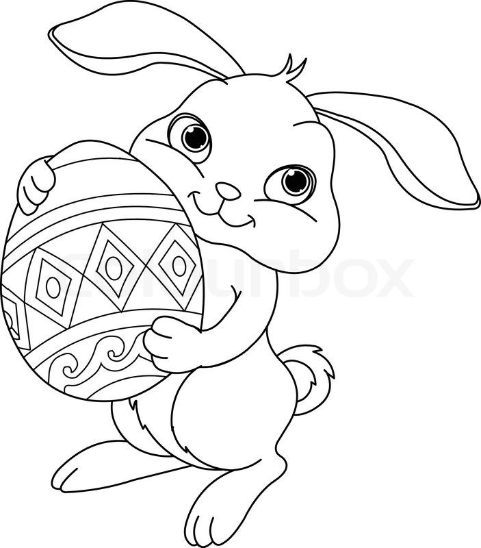 Illustration Of Happy Easter Bunny Carrying Egg Coloring Page