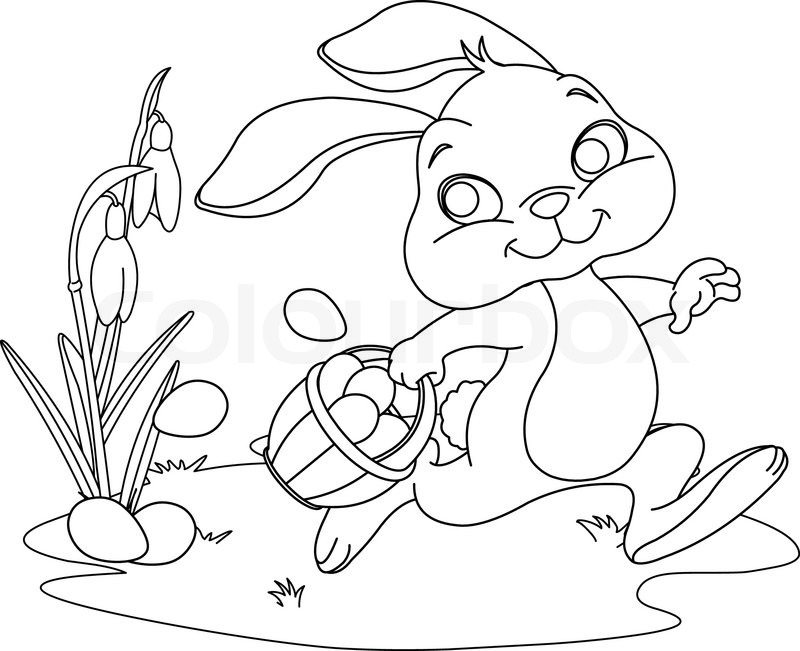 Cute Easter Bunny Hiding Eggs Coloring Page