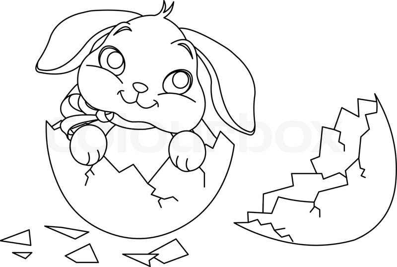 Easter bunny sitting in the broken Easter Egg Coloring page Stock