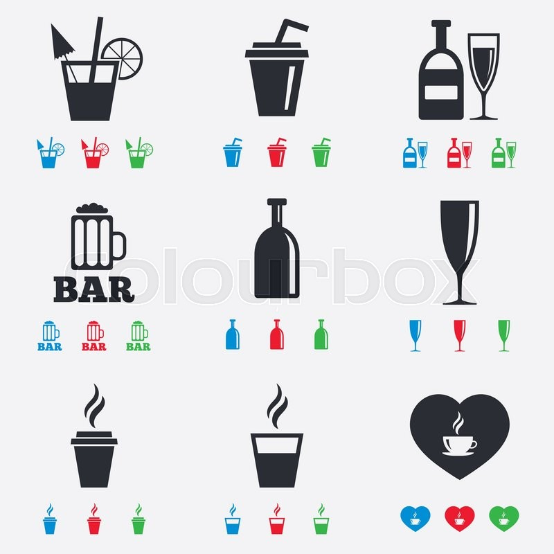 Beer Coffee And Tea Icons Beer Wine And Cocktail Signs Soft And