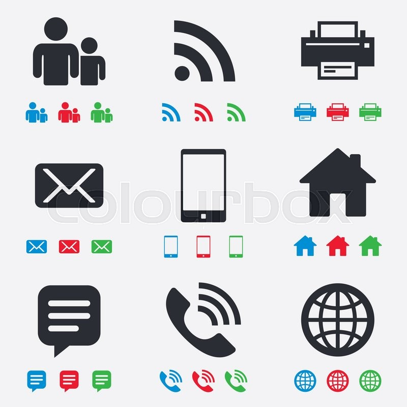 Contact Mail Icons Communication Signs E Mail Chat Message And
