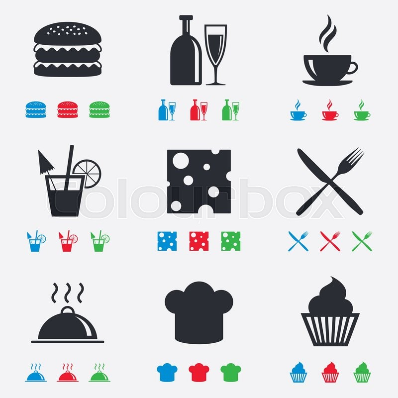 Food, drink icons. Coffee and hamburger signs. Cocktail, cheese and cupcake symbols. Flat black, red, blue and green icons, vector
