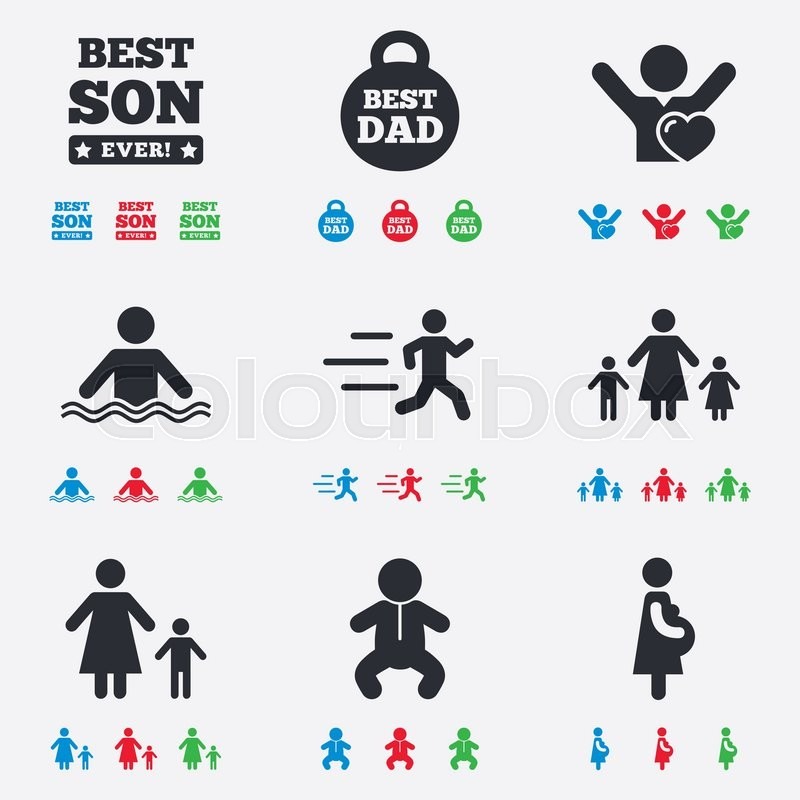 People, family icons. Swimming, baby and pregnant woman signs. Best dad, runner and fan symbols. Flat black, red, blue and green icons, vector