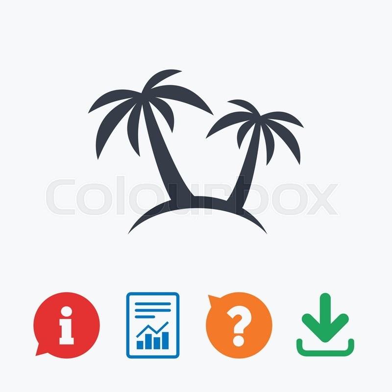 Palm Tree Sign Icon Travel Trip Symbol Information Think Bubble