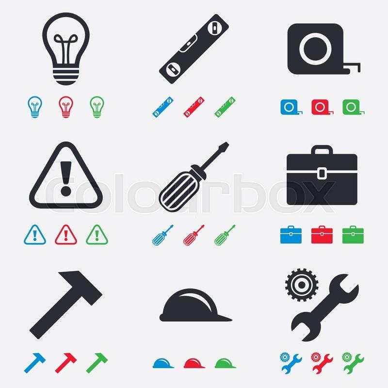 Repair Construction Icons Engineering Helmet And Screwdriver
