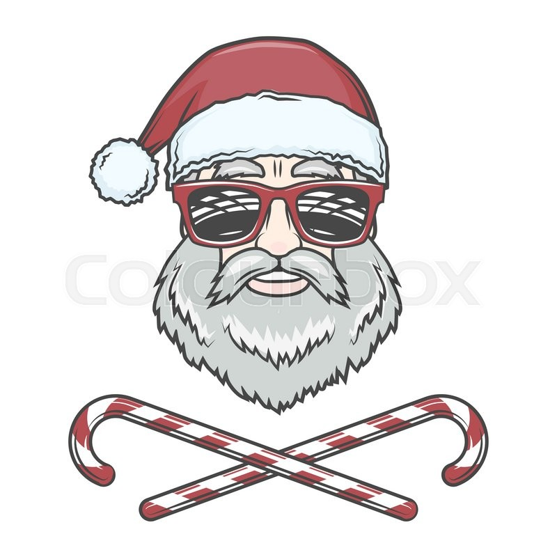 santa claus biker with candy cones and hipster glasses print design vintage disco man christmas logo insignia rock and roll new year t shirt illustration - Christmas Logo