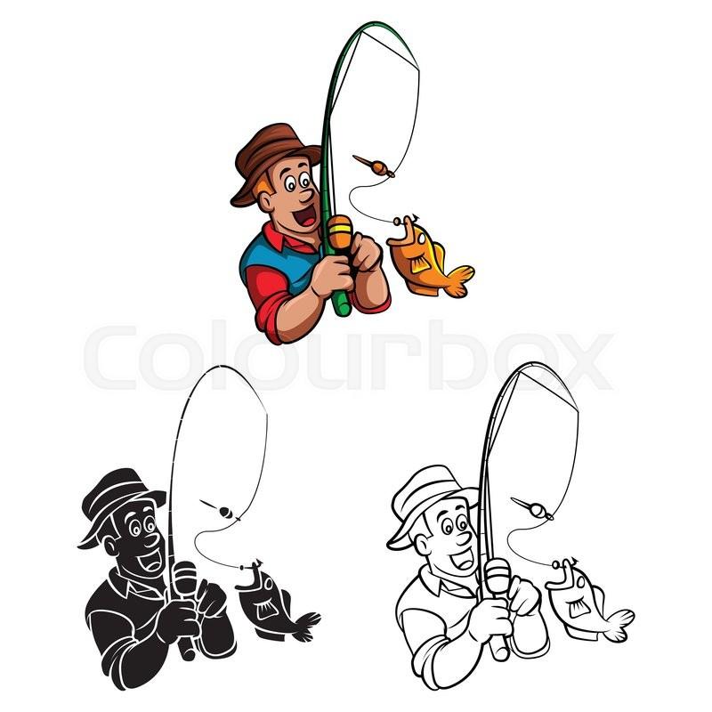 Coloring Book Fisherman Cartoon Character