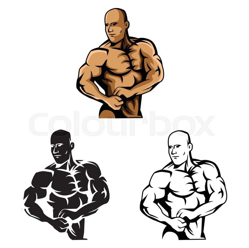 Coloring Book Body Builder Cartoon Character