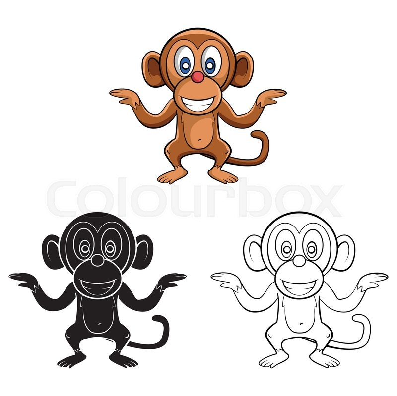 Coloring book Monkey Dance cartoon character - vector illustration ...