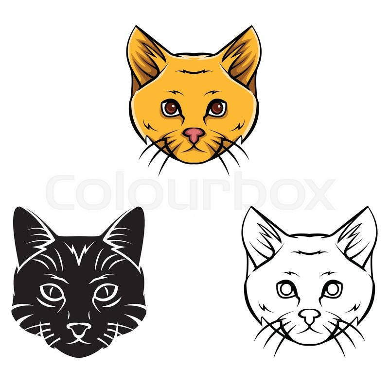 Coloring Book Cat Head Cartoon Character