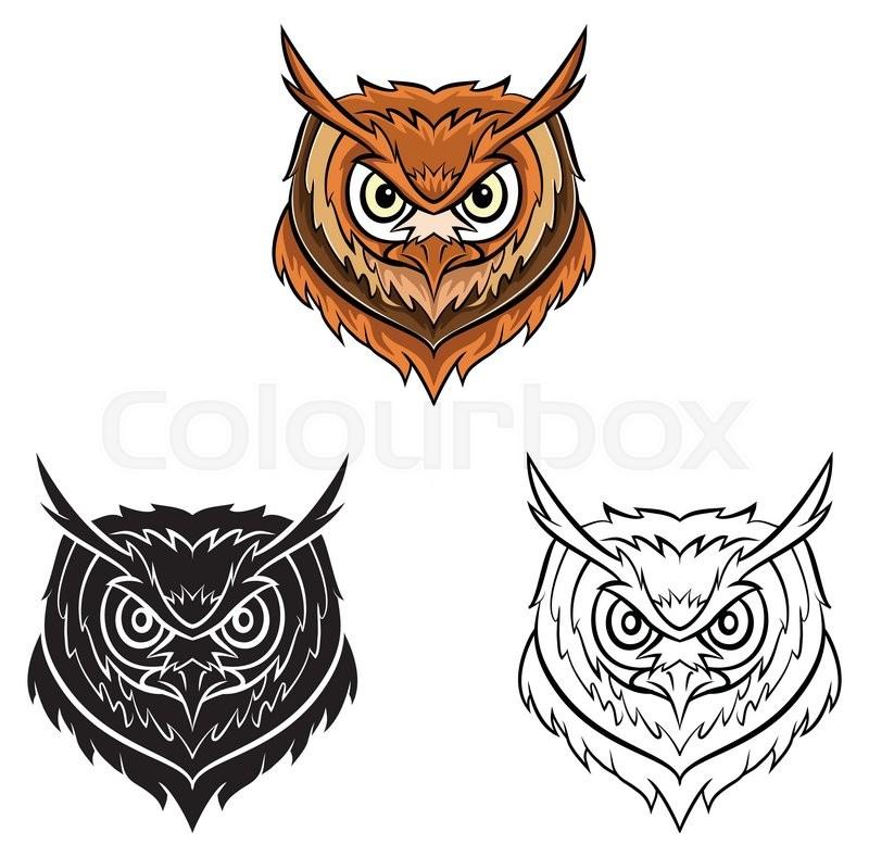 Coloring book Owl head cartoon character | Stock Vector | Colourbox