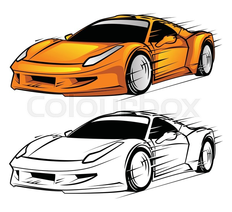 Coloring Book Sport Car Cartoon Character Stock Vector Colourbox