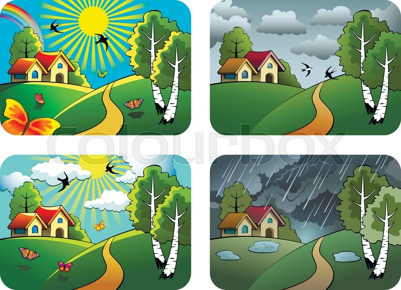 Set of different weather landscapes: sunny, cloudy, overcast and rainy, vector illustration, vector