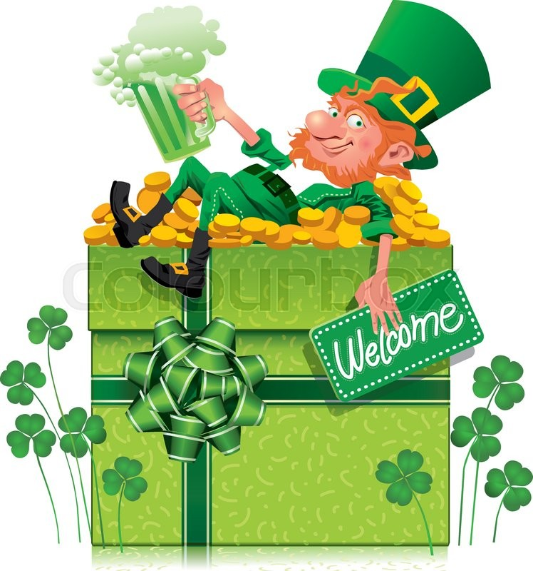 A cheerful leprechaun holding a green beer on a gift box for Irish mail cart plans