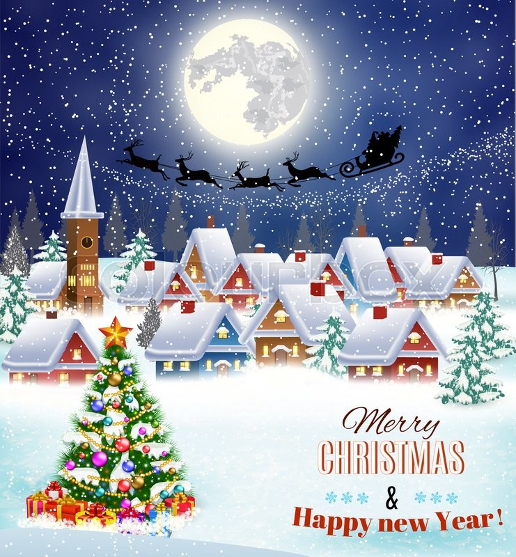 new year and christmas winter landscape with christmas tree background with moon and the silhouette of santa claus flying on a sleigh concept for