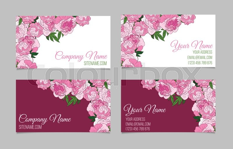 Double sided floral business card template with peonies on white and double sided floral business card template with peonies on white and purple backgrounds stock vector colourbox accmission Choice Image