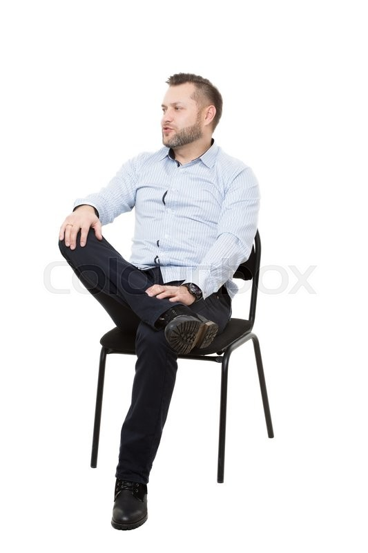 Man Sitting On Chair Isolated White Background Body