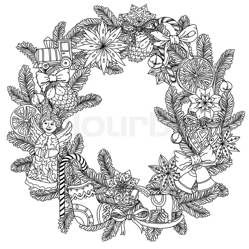Christmas wreath with decorative items, Black and white . Zentangle ...