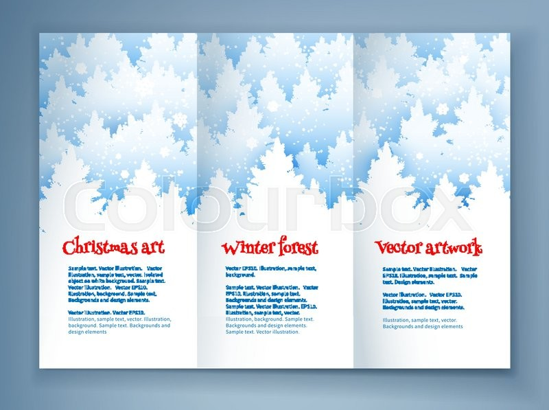 christmas leaflet design template with winter spruce forest