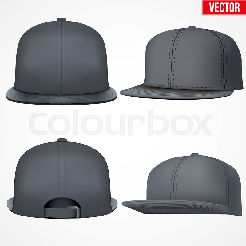Set of Layout of Male black rap cap. A template simple example ...