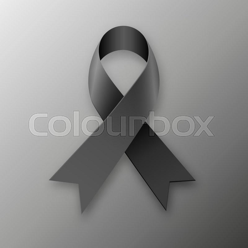 Black Awareness Ribbon On Dark Background Mourning And Melanoma