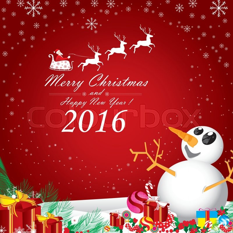 Merry Christmas and Happy New Year 2016. Snowman and Cherry in ...