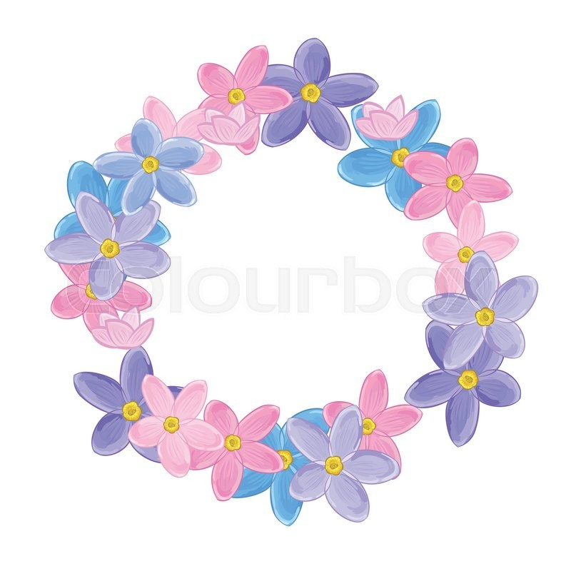 Small pink violet and blue flowers arranged un a shape of round small pink violet and blue flowers arranged un a shape of round wreath forget me not vector mightylinksfo