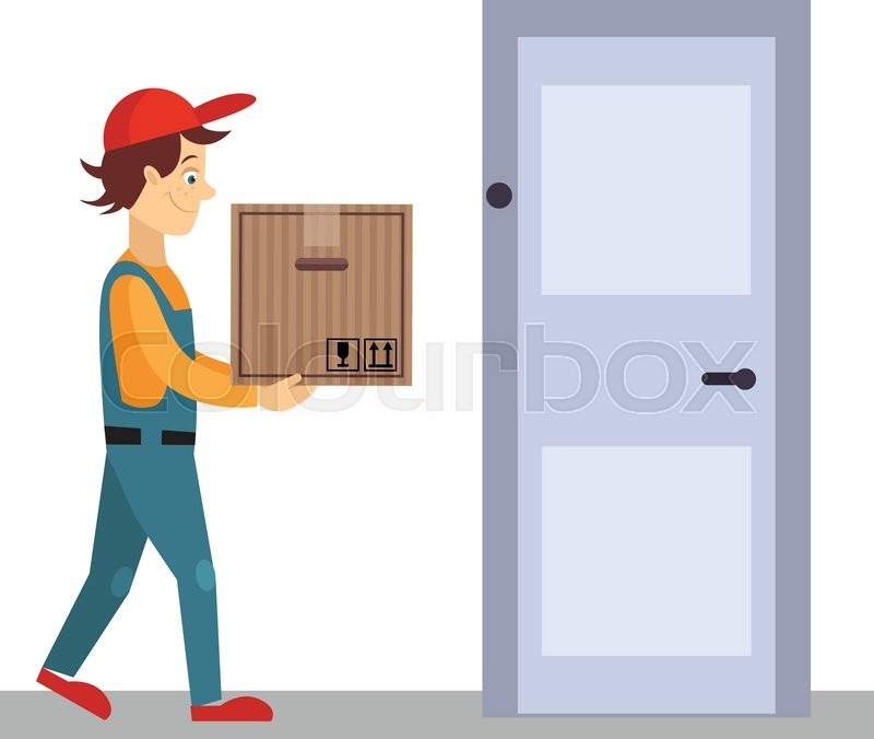 Delivery Man at Door with a Box Flat Vector Illustration | Stock Vector | Colourbox