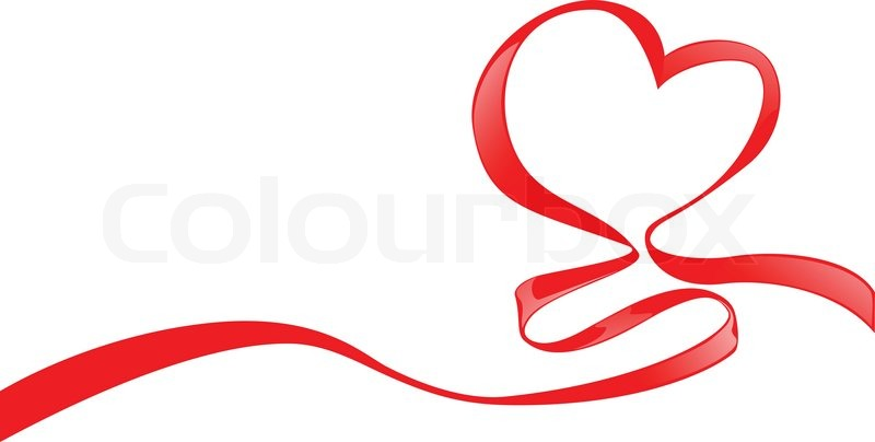 red ribbon with hearts shape for valentines day vector